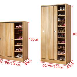 推拉门鞋柜多层家用玄关柜门口鞋架 大容量省空间阳台实木质储物柜