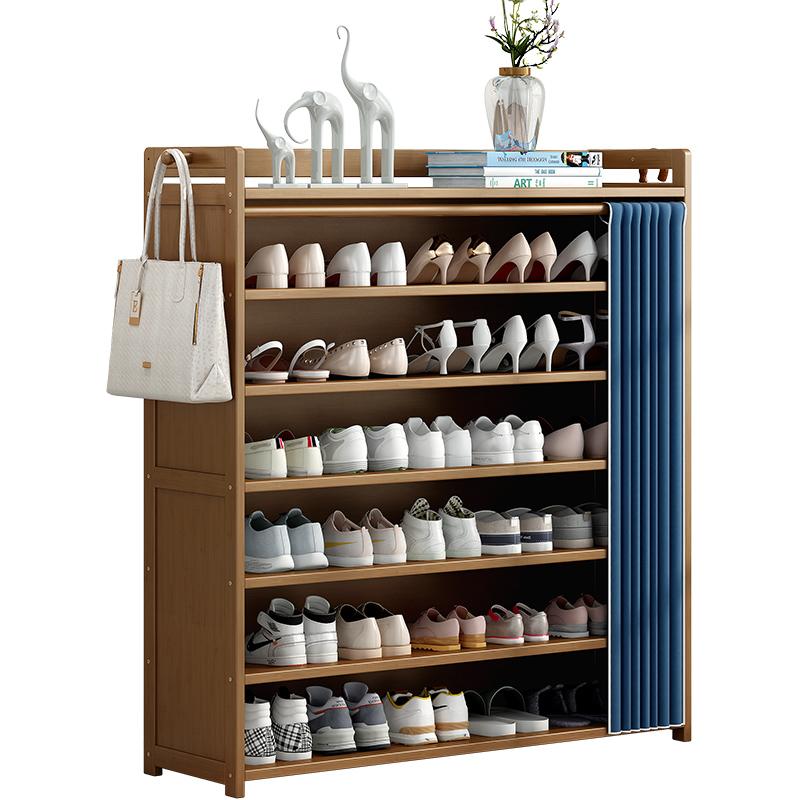 鞋架子家用经济型室内好看简易门口收纳神器实木多层防尘布艺鞋柜