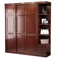推拉门全实木衣柜家用卧室简约现代小户型柜子中式原木储物大衣橱