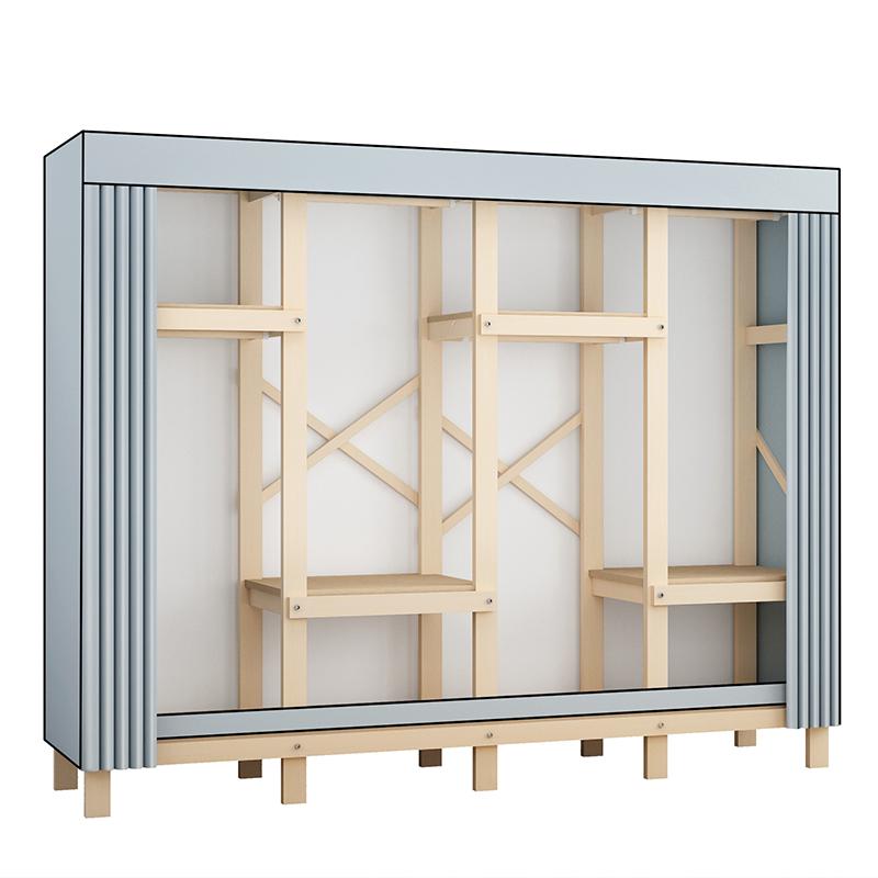 简易衣柜家用卧室木质布衣柜出租房用简约现代实木柜子结实耐用