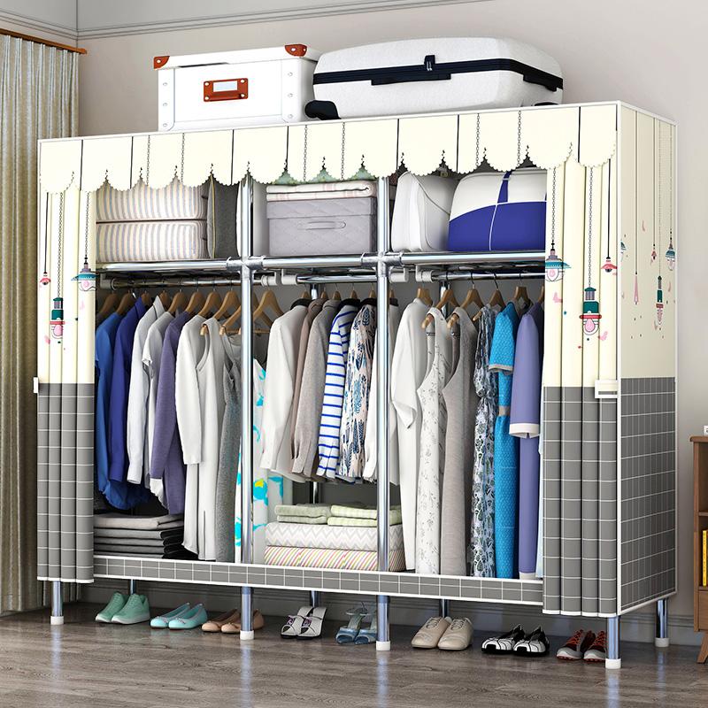 衣柜简易布衣柜网红钢管加厚加固家用卧室现代简约出租房用挂衣柜