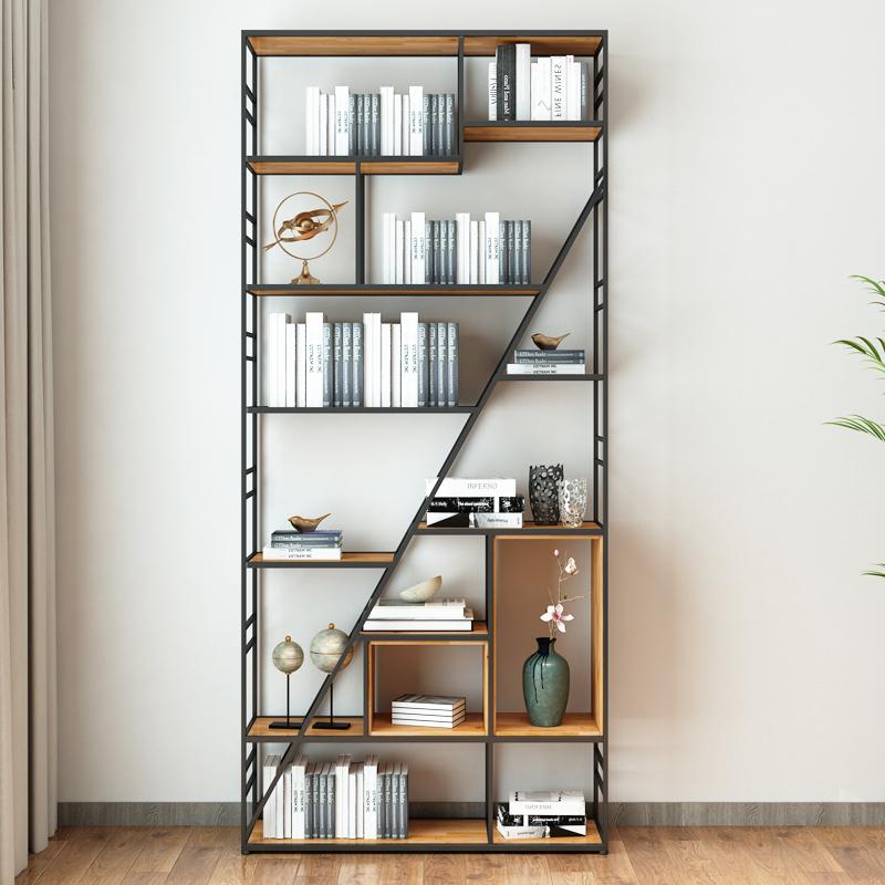 铁艺书架置物架创意艺术书柜落地隔断工业风博古架定做书房办公室