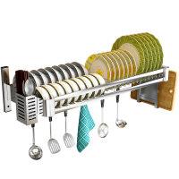不锈钢厨房水槽置物架碗碟收纳架壁挂式免打孔水池上放碗架沥水架