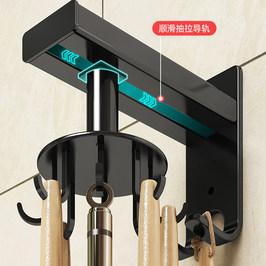 厨房壁挂式锅铲勺子挂架厨具收纳架免打孔旋转挂钩纸巾置物架神器