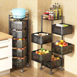 360度旋转式菜篮子置物架厨房落地多层家用多功能放果蔬菜收纳架