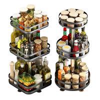可旋转厨房调料置物架台面转角放调味品油盐酱醋瓶多功能圆形收纳