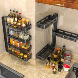 免打孔旋转式厨房转角置物架调料调味品壁挂式可旋转墙上收纳神器