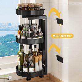 厨房调味品置物架壁挂式多功能台面旋转调料架转角油盐酱醋收纳架