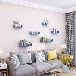 客厅免打孔墙上置物架挂墙壁隔板墙面书架电视墙壁挂架卧室装饰