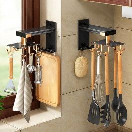 轻奢免打孔厨房可旋转挂钩壁挂式墙上收纳置物架锅铲勺子厨具神器