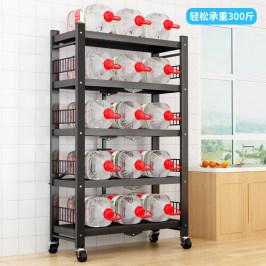 厨房置物架落地多功能免安装折叠收纳储物架微波炉烤箱锅具货架子