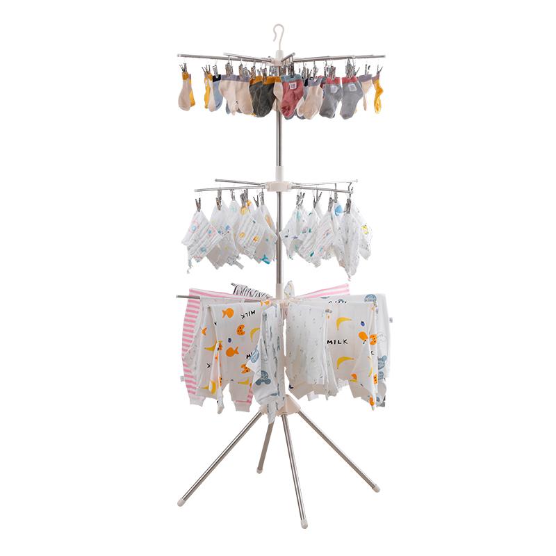婴儿晾衣架儿落地儿童晒衣架多功能宝宝衣架室内折叠家用晾衣神器