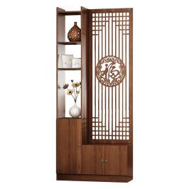 新中式入户屏风客厅木质玄关隔断柜客厅装饰架置物博古架遮挡座屏