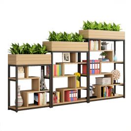 铁艺矮隔断置物架办公室屏风展示架花架简约书柜落地玄关花槽网格