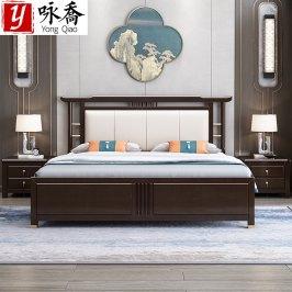 新中式实木床现代简约1.8米双人床主卧中国风轻奢婚床卧室家具