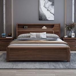 胡桃木实木床1.8米双人床现代简约1.5米新中式高箱储物主卧北欧床