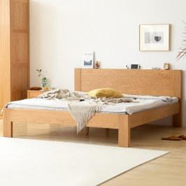门店同款-原始原素全实木床1.8米1.5橡木北欧现代简约双人床A3011