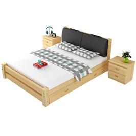 百利图实木床现代简约1.5米松木双人1.8米经济型简易1.2m单人床架