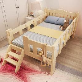 实木儿童床松木床拼接床带护栏小床男孩女孩公主床小孩床加宽床