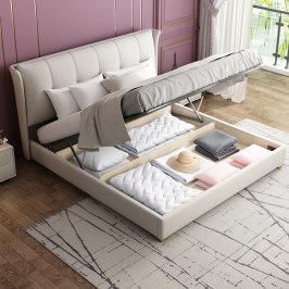 科技布床北欧布艺床主卧大床轻奢床现代简约卧室1.8米双人婚床dlm