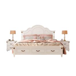 Ashley爱室丽美式实木轻奢公主双人床主卧现代简约白色欧式1.8米