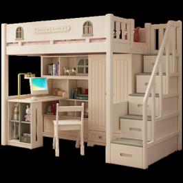 儿童高低双层床上床下书桌小户型滑梯上下床带衣柜一体多功能高架