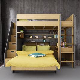 交错式上下床双层空中床小户型多功能组合上床下桌错位儿童高低床