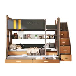 现代上下床高低床儿童床子母床意式成年上下铺木床双层床两层组合