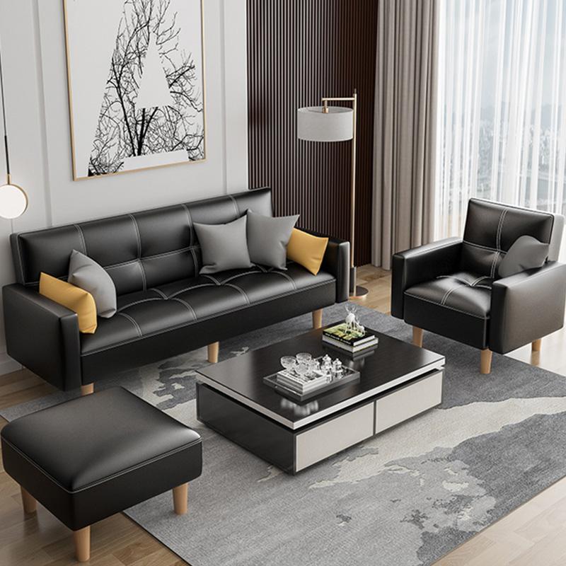 现代简约布艺沙发小户型出租房用科技布两用客厅皮小沙发床