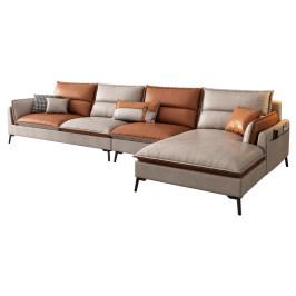 星雨阁北欧科技布沙发现代简约客厅转角贵妃创意拼色布艺乳胶沙发