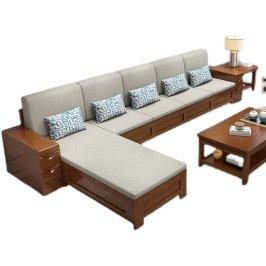 全实木沙发组合新中式现代简约布艺小户型冬夏两用储物客厅家具