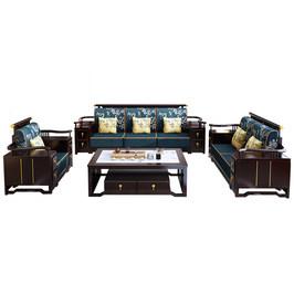 新中式沙发大小户型客厅家具组合套装全实木沙发冬夏两用储物沙发