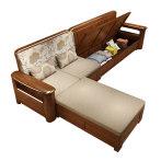 晨府胡桃木实木沙发高箱储物加厚现代简约客厅转角小户型中式组合