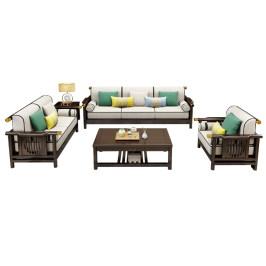 新中式全实木沙发橡木现代简约客厅小户型奢华新中式家具组合套装