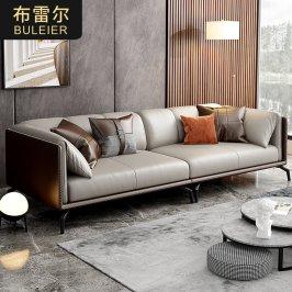 意式极简真皮沙发现代轻奢皮艺沙发北欧小户型客厅直排三人位沙发