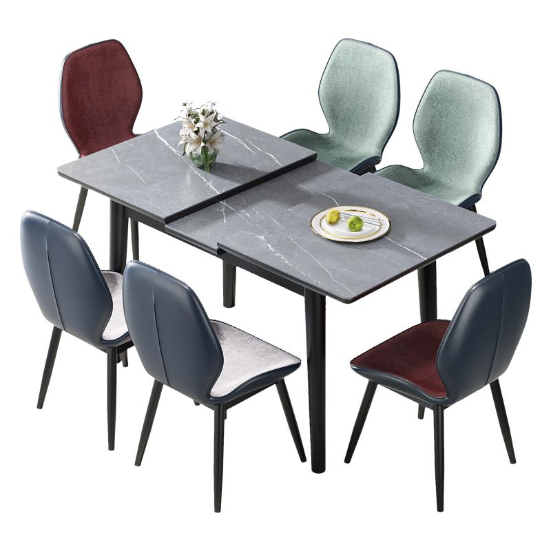 意式岩板伸缩餐桌椅组合小户型家用伸缩折叠饭桌现代简约轻奢桌子