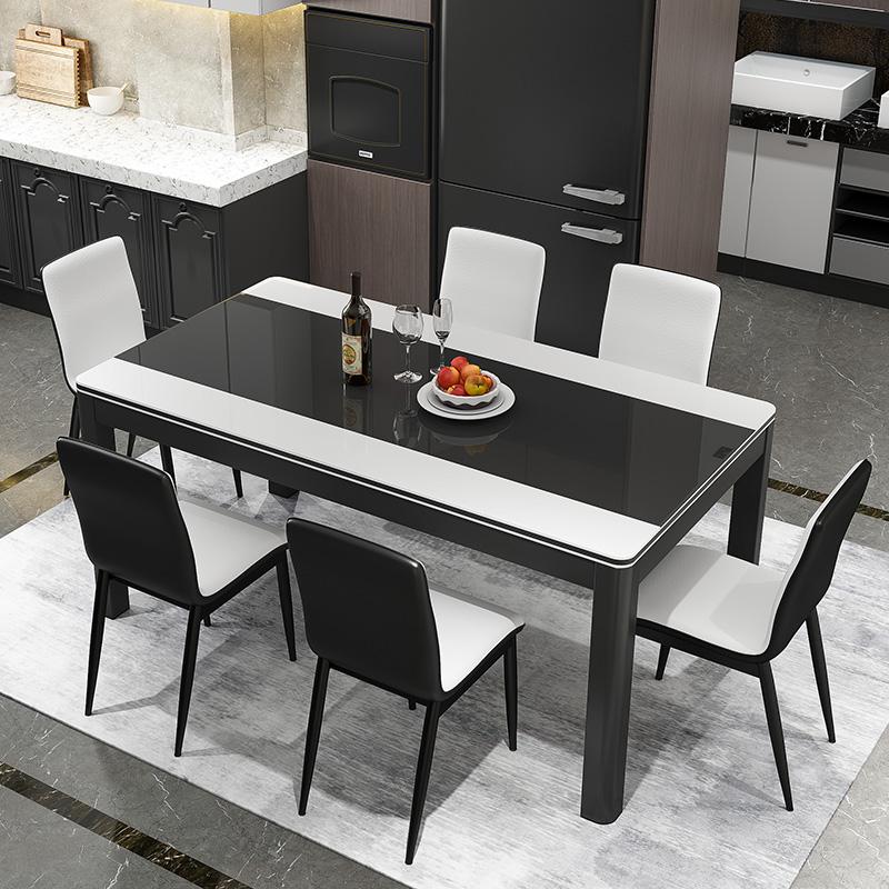 餐桌现代简约家用小户型4人6人桌椅组合轻奢长方形玻璃饭桌经济型