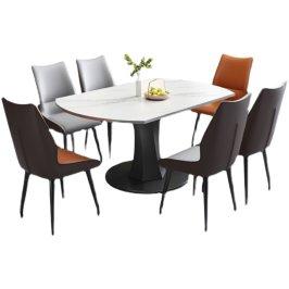 岩板餐桌椅组合轻奢小户型家用饭桌现代简约旋转伸缩折叠吃饭桌子