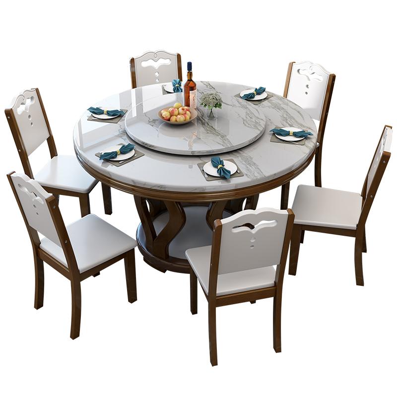 大理石餐桌北欧圆桌带转盘饭桌圆形实木家用电磁炉火锅餐桌椅组合