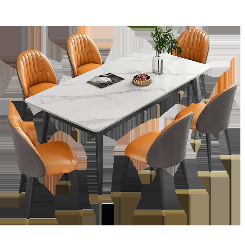 白色岩板餐桌家用小户型现代简约大理石吃饭桌子餐桌椅组合长方形