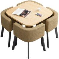 可收纳省空间折叠餐桌家用小户型饭桌商店面洽谈桌椅组合接待圆桌