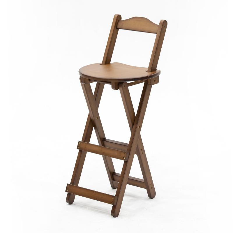 靠背吧台椅可折叠客厅高脚凳实木酒吧椅子现代简约家用餐厅吧台凳