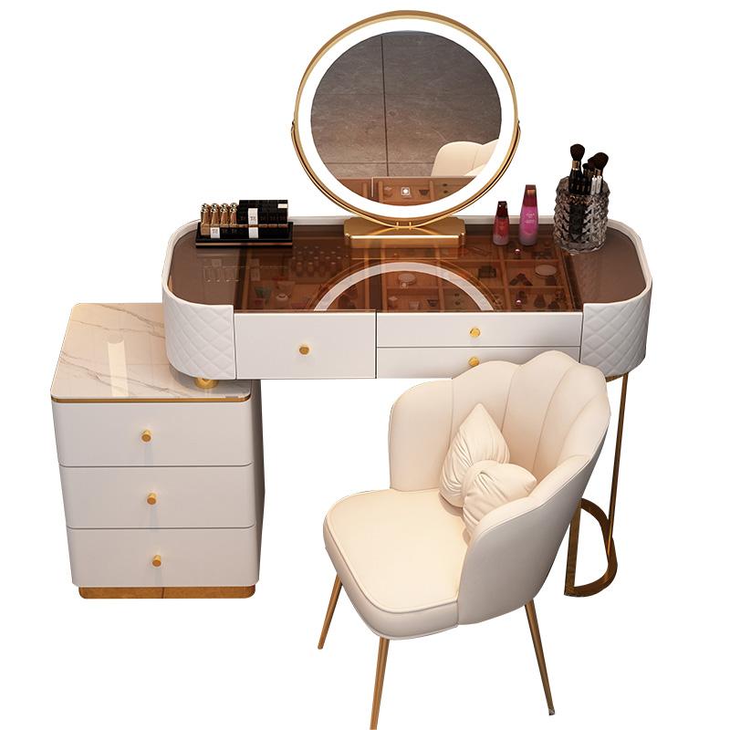 梳妆台玻璃轻奢高级感卧室现代简约岩板化妆桌小户型收纳柜一体桌