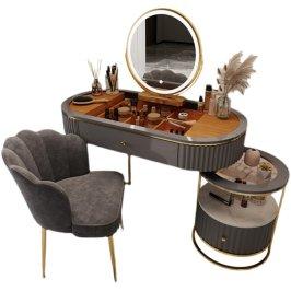 轻奢梳妆台卧室小户型 北欧网红化妆台 现代简约收纳柜一体化妆桌