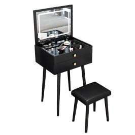 翻盖梳妆台卧室简约现代小型50cm迷你40轻奢高级网红ins风化妆桌