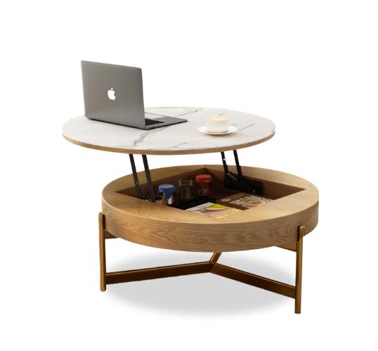 北欧轻奢升降茶几电视柜组合 大理石纹钢化玻璃创意圆形储物茶桌椅