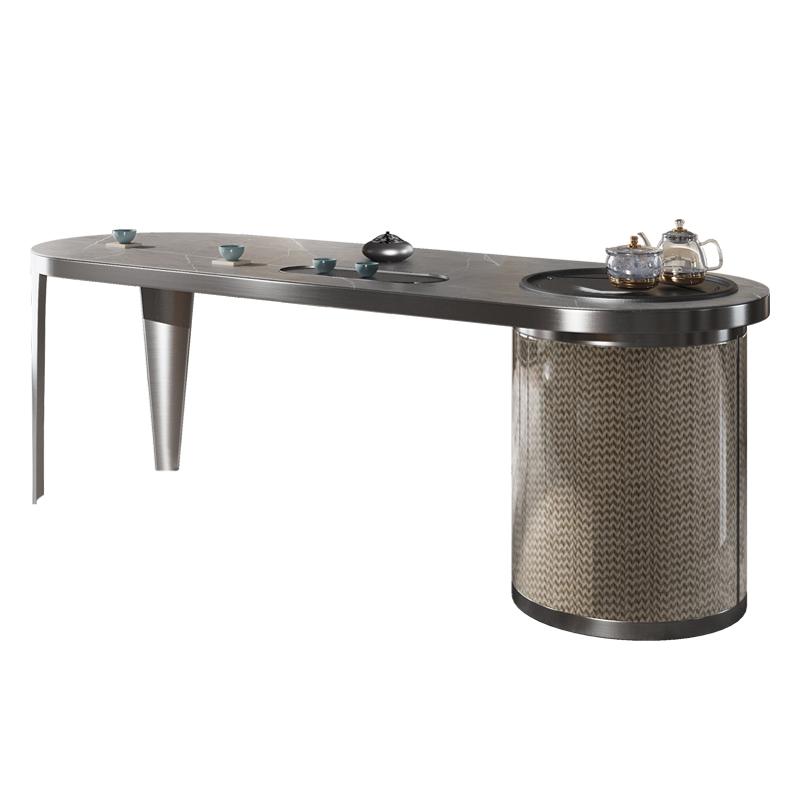 轻奢茶桌椅组合阳台现代简约办公茶台功夫茶几书桌一体岩板泡茶桌