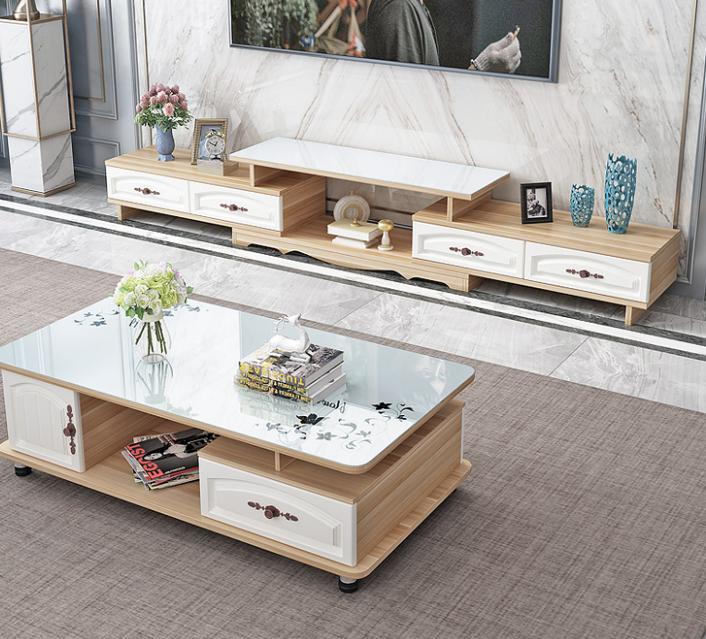 圆角茶几小户型简约现代花几电视柜组合茶桌玻璃茶几桌客厅家用
