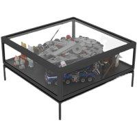 北欧收纳小户型钢化玻璃茶几手办模型咖啡桌客厅多功能乐高展示柜