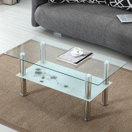 客厅简约玻璃茶几长方形简易钢化双层透明桌子小户型家用小茶桌
